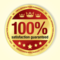 Red 100% satisfaction guaranteed badge with golden frame