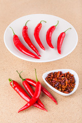 Fresh and dried chili peppers