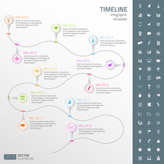 Timeline template with icon set. Light background