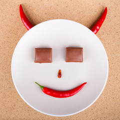 Chili pepper smiling face
