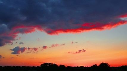 Clouds moving during beautiful sunset, timelapse