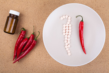 Red chili pepper with vitamins
