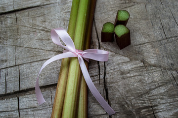rhubarb, pink ribbon, stem, leaves, decoration