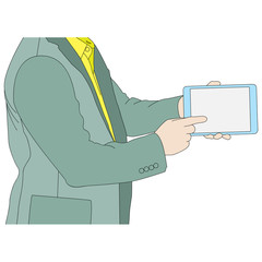 Business man hands holding tablet computer, vector format