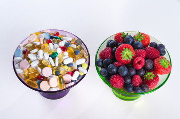 Healthy lifestyle, Fruit and pills, vitamin supplements
