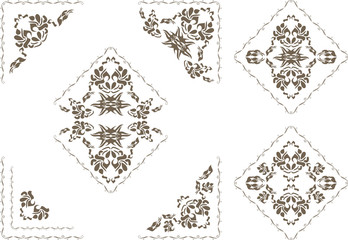 Ornamental elements and corners for decor isolated on the white