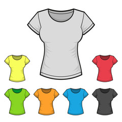 Women's T-shirt Design Template Color Set. Vector