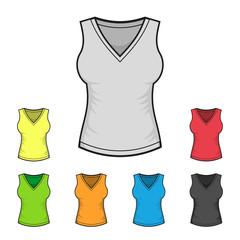 Women's V-neck Shirt Design Template Color Set. Vector