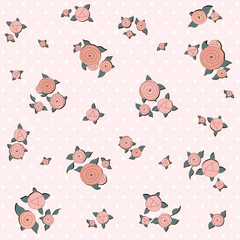 Elegance pattern with retro pink roses