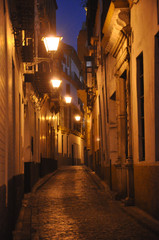 Una calle de Sevilla de noche, vista nocturna, faroles
