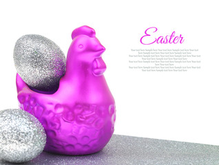 Chicken with silver eggs Easter decoration with copy-space