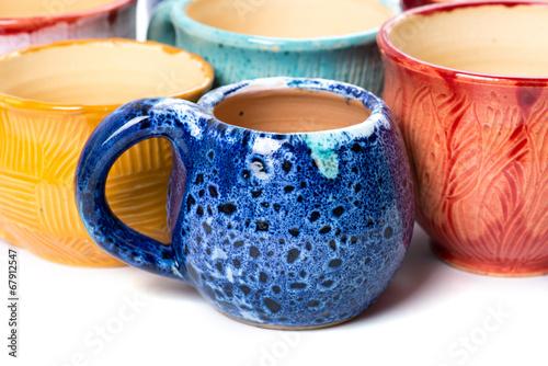 Leinwanddruck Bild ceramic pots in glaze