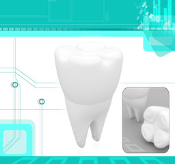 Digital illustration of teeth in abstract background