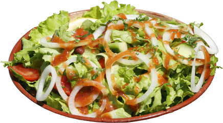 Seasoned salad with fresh vegetables, tomatoes, letuse and bean.