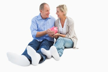 Happy mature couple holding piggy bank