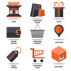 Flat isolated icons set shop