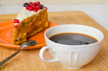 cup of coffee with carrot cake