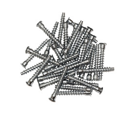 Furniture fittings - screws on white background