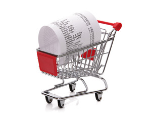 Shopping till receipt in cart