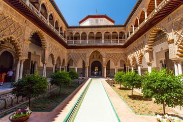 Alcazar patio in Seville, Spain