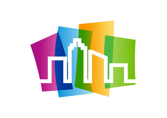 city logo building abstract real estate development