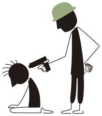銃口を頭に突きつけられる男性