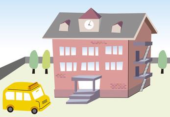 学校と送迎バス