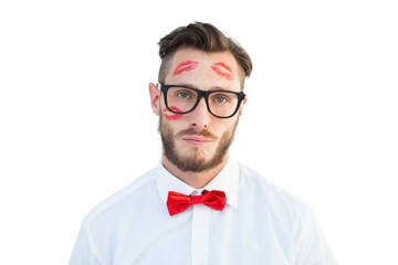 Geeky hipster with kisses on his face