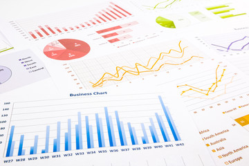colorful graphs, charts, marketing research and  business annual