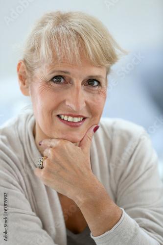 canvas print picture Portrait of smiling blond senior woman