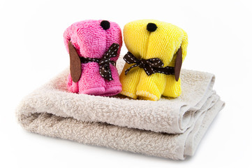 towels in the form of dogs