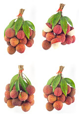Lychee fruits red. Fresh lychees isolated on white background