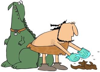Caveman picking up pet poo