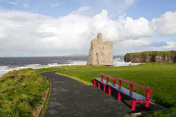 Ballybunion beach and castle bench view