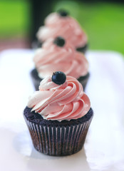 Chocolate cup-cake with pink whipped cream on white plate