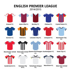 English Premier League 2014 - 2015 football or soccer jerseys