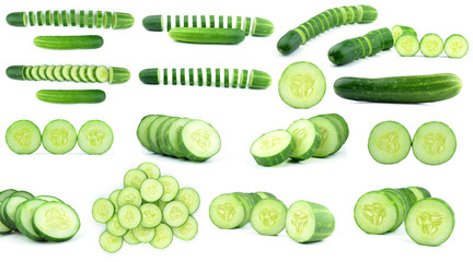 collection fresh cucumbers isolated on white