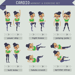 Cardio workout and exercise set