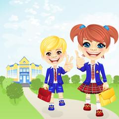 Vector happy schoolgirl and schoolboy near school