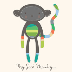 Cute Sock Monkey Doll Card