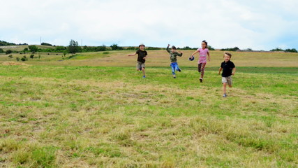Funny kids running at race