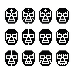 Lucha Libre, luchador pixelated Mexican wrestling masks