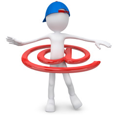 3d male with hula hoop email symbol