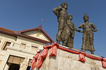 Monumento a los tres reyes, Chiang Mai, Tailandia