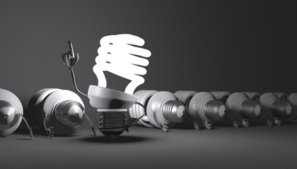 Spiral light bulb character standing among many lying ones