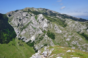 Limestone ridge, Iorgovanului cliff in Retezat mountain, Romania
