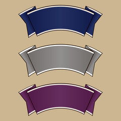 Blue, gray and purple ribbon set