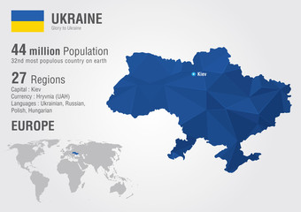 Ukraine world map with a pixel diamond texture.