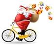Leinwanddruck Bild - babbo natale in bici