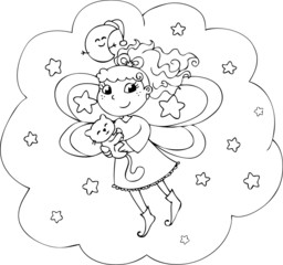 Cartoon coloring fairy-lady in the night sky